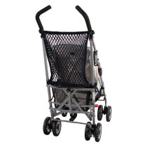 Shopping net for pram with rubber gag fastener